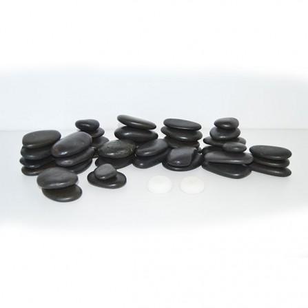 Вулканични Масажни Камъни от Базалт – Комплект 40 бр.