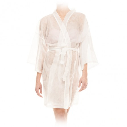 Кимоно за еднократна употреба от нетъкан текстил - Бял цвят