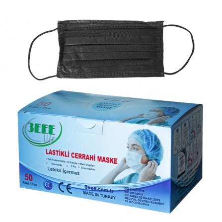 Еднократни черни медицински маски 3EEE, опаковка от 50 броя