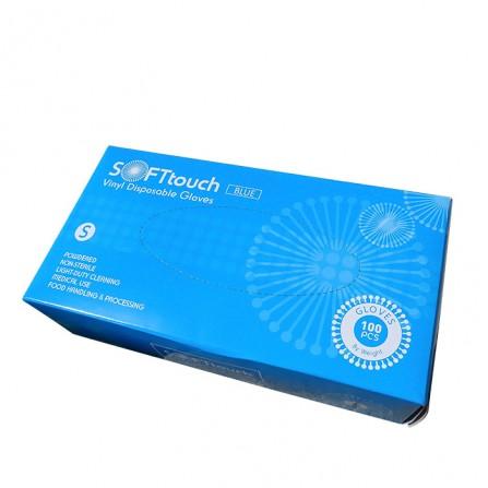 Soft touch ръкавици от син винил с пудра 100 броя в опаковка
